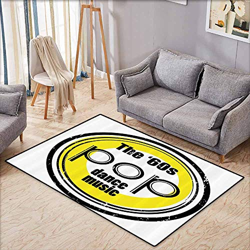 - Outdoor Patio Rug,1960s Decorations Collection,Party Music Night Club Bar Band Pop Dance Performance Festival Good Old Days Style,Super Absorbs Mud,4'11