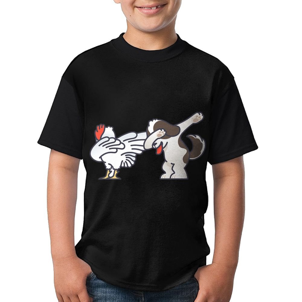 Dabbing Dog And Chicken Child Soft Tshirt 3D Printed Tee Round Top X-Large