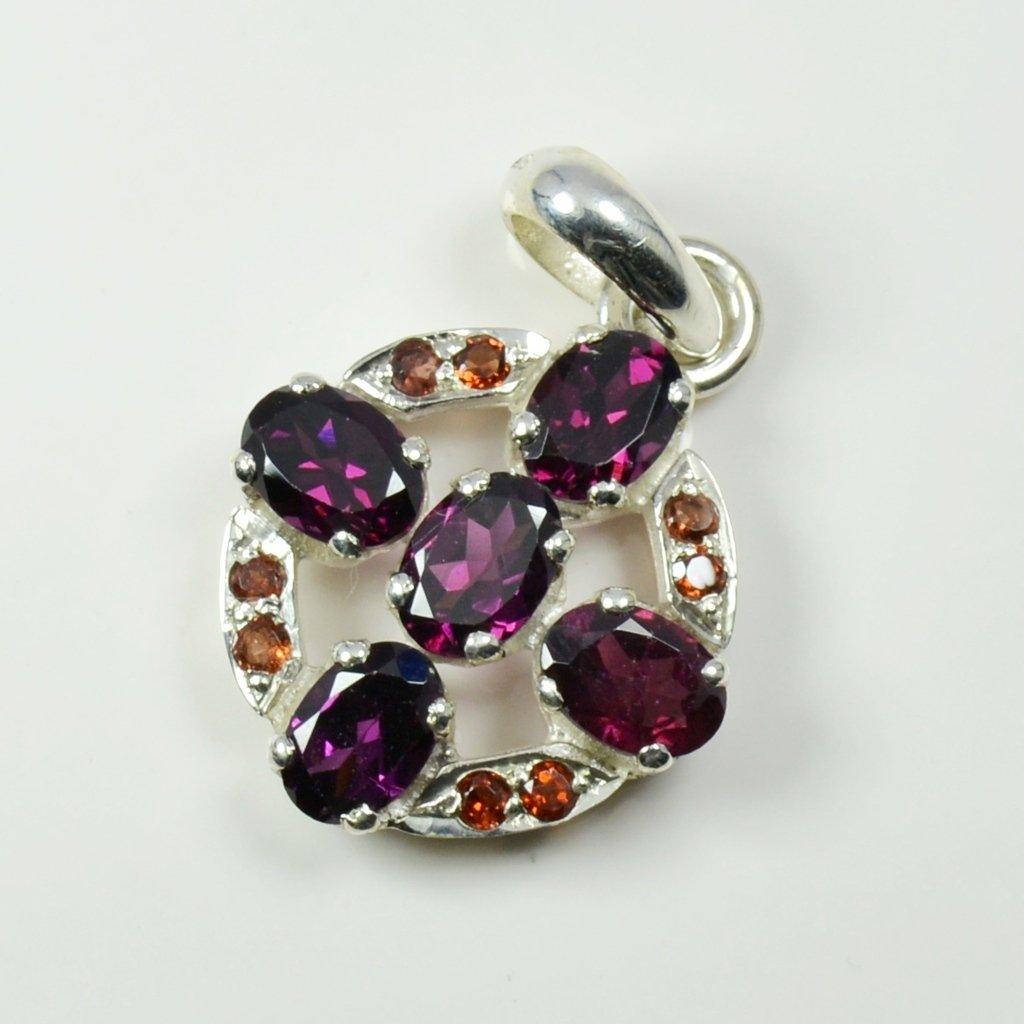 CaratYogi Natural Garnet Pendant Jewellery Making Sterling Silver January Birthstone Prong Style Locket