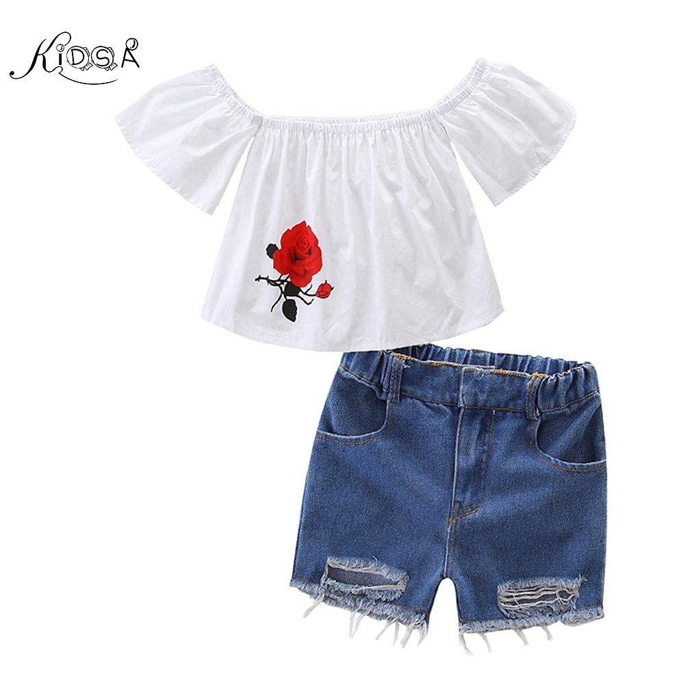 KIDSA 1-7T Toddler Baby Little Girls Summer Outfits Sets Off Shoulder Rose Print T-shirt Tops + Ripped Jeans Tore up Shorts,White,5T