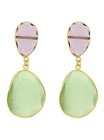 Córdoba Jewels   Pendientes en plata de Ley 925. Diseño Essencia Luxury Amatista Esmeralda