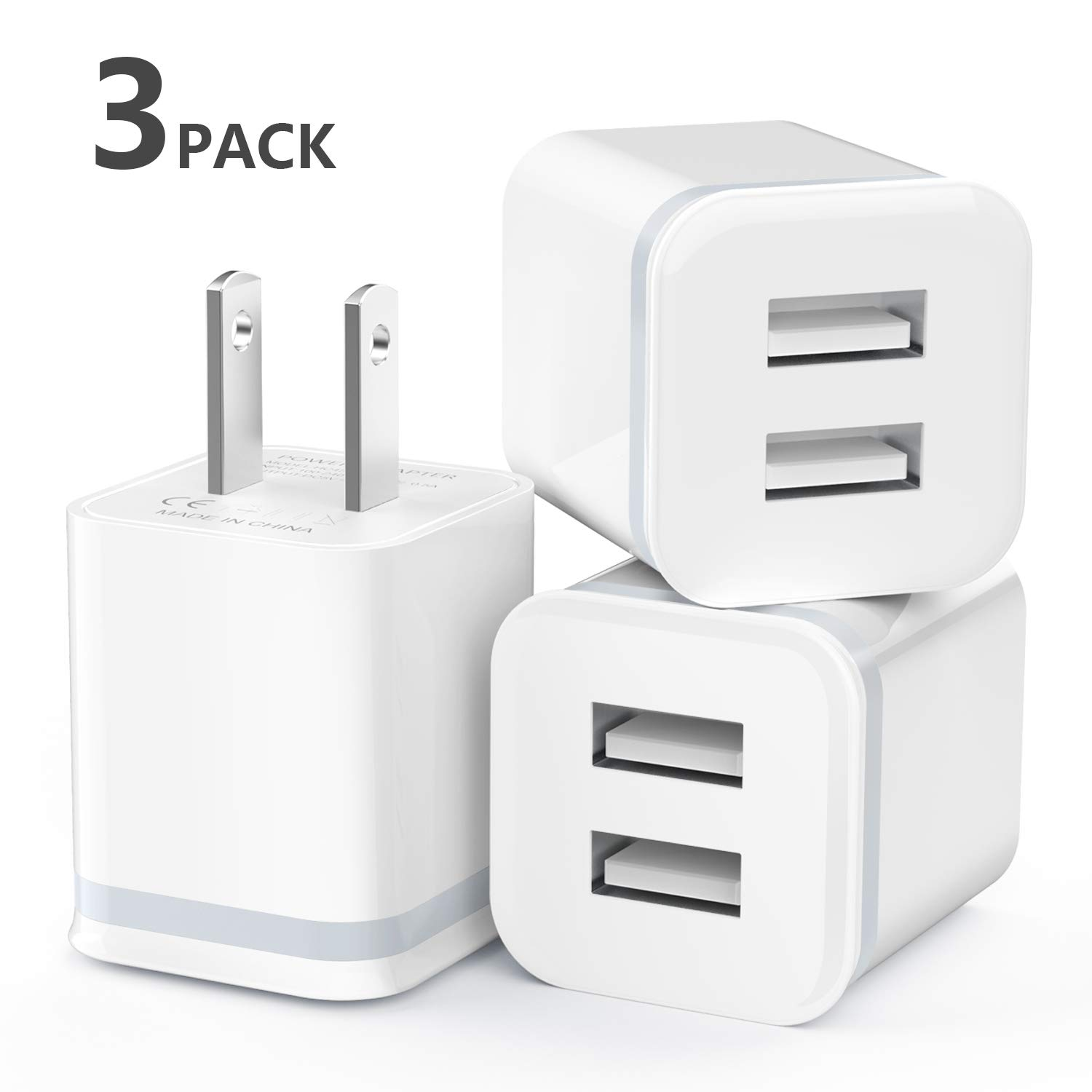 USB Wall Charger, LUOATIP 3-Pack 2.1A/5V Dual Port USB Cube Power Adapter Charger Plug Charging Block Replacement for iPhone Xs/XR/X, 8/7/6 Plus, Samsung, LG, HTC, Moto, Android Phones by LUOATIP