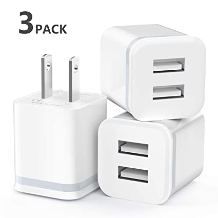 Amazon.com: LUOATIP Cargador de pared USB, paquete de 3 ...
