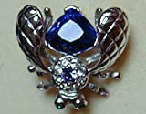 Joan Rivers QVC Silver Tone and Larger Faceted Purple/Blue Tanzanite with Smaller Surrounded with Rhinestones BEE Brooch Pin-New Old Stock
