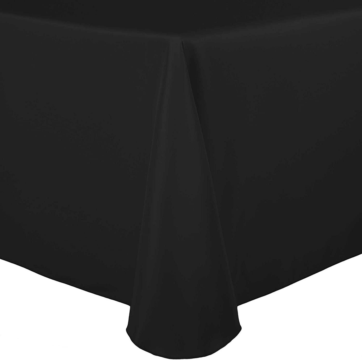 Ultimate Textile 70 x 104-Inch Oval Polyester Linen Tablecloth Black