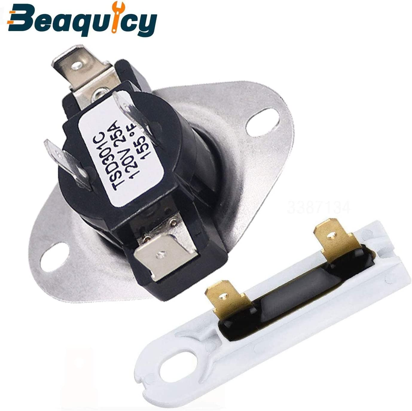 Beaquicy 3387134 Dryer Cycling Thermostat with 3392519 Dryer Non Resettable Thermal Fuse - Replacement for Whirlpool Kenmore Kitchen Aid Maytag Dryer - Package Includes 3387134 & 3392519