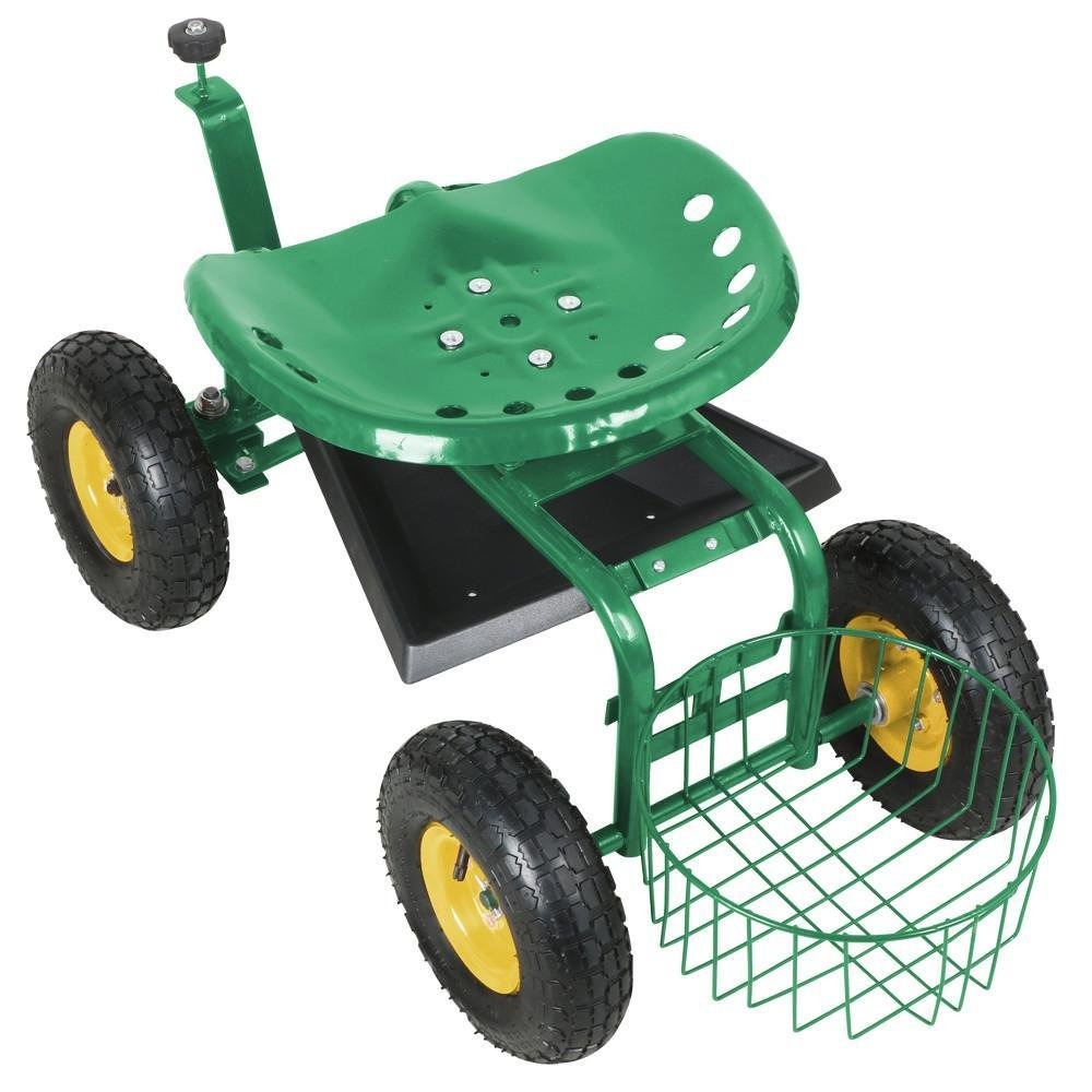go2buyRolling Garden Cart Work Seat With Heavy Duty Tool Tray Gardening Planting Green