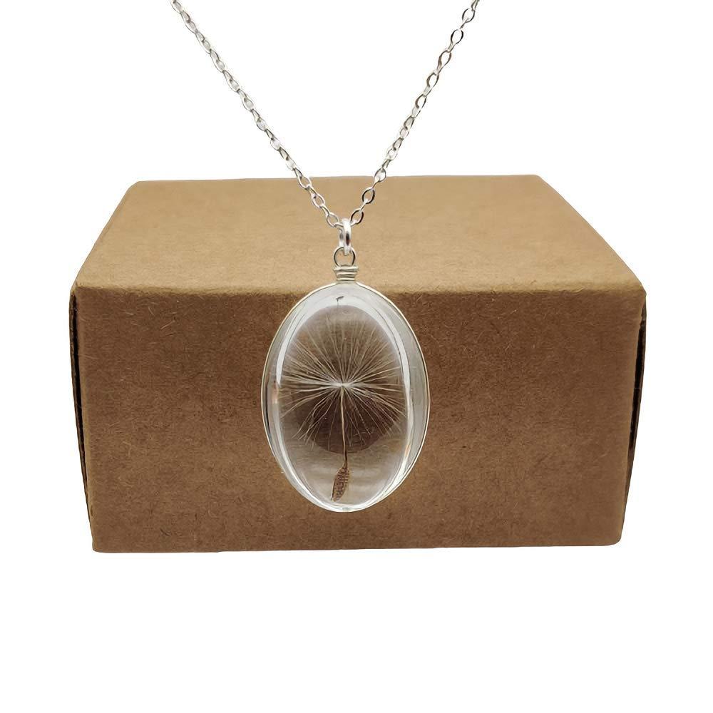 Circular Make A Wish dandelion pendant necklace
