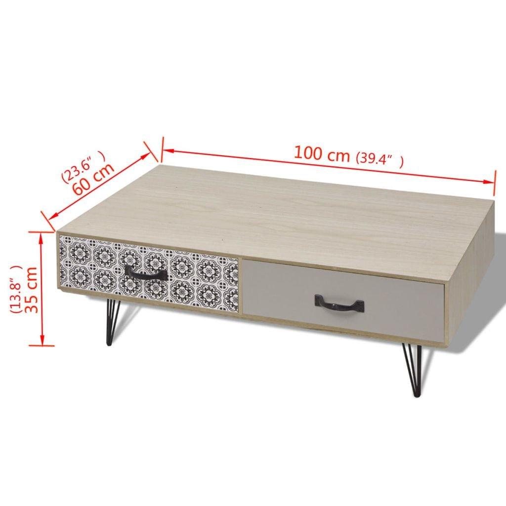 vidaXL Mesa de MDF y Acero Modelo de Centro Dimensiones 100x60x35 cm Color Beige