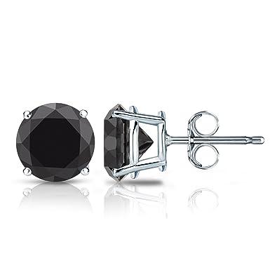 0f955fee9e86f 14k White Gold Round Black Diamond Stud Earrings 4-Prong Basket-Push Backs  (1 cttw, Black color)