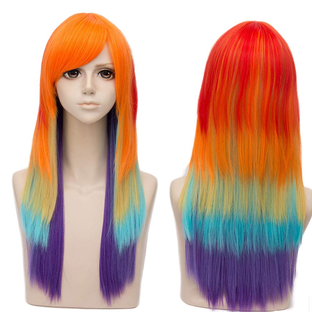 Amazon.com  Netgo Rainbow Wigs for Kids Women Long Straight Heat Resistant  Fiber Colorful Wig with Bangs Cosplay Party  Clothing f0ac1b290c40
