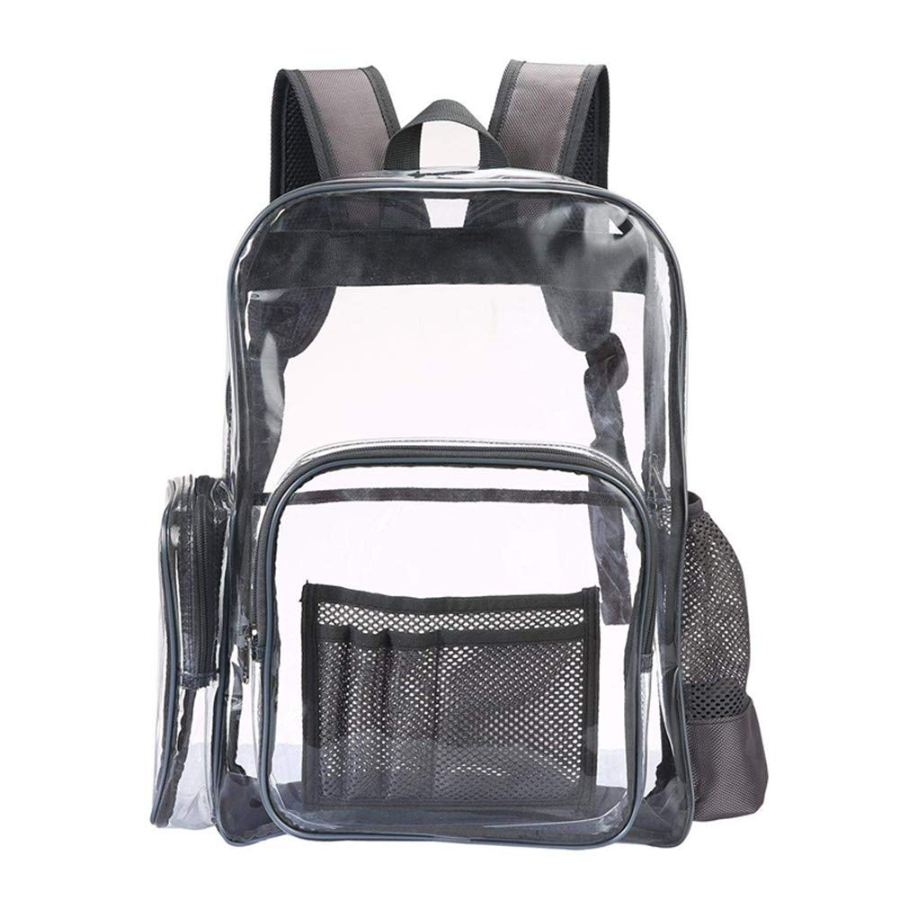 FLYMEI Clear Backpack Transparent 15.6'' Laptop Backpack School Bags Safety Travel Rucksack for Boys and Girls (Grey)