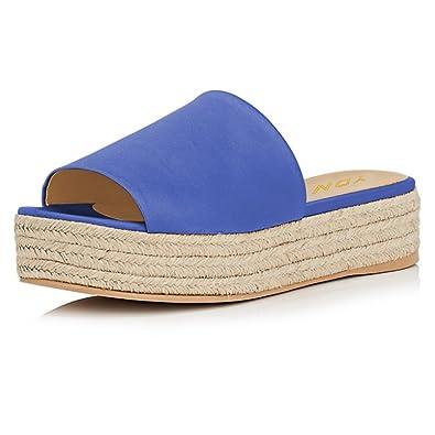 aca309472d4 YDN Women Peep Toe Low Heel Espadrille Wedge Sandals Slip on Mules Slide Platform  Shoes Blue