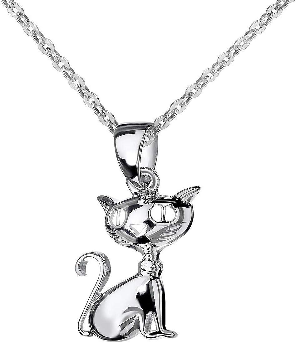 MATERIA Damen Anhänger Katze 925 Sterling Silber rhodiniert für Halskette