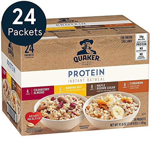 Quaker Quaker Instant Oatmeal, Protein 4 flavor variety pack,