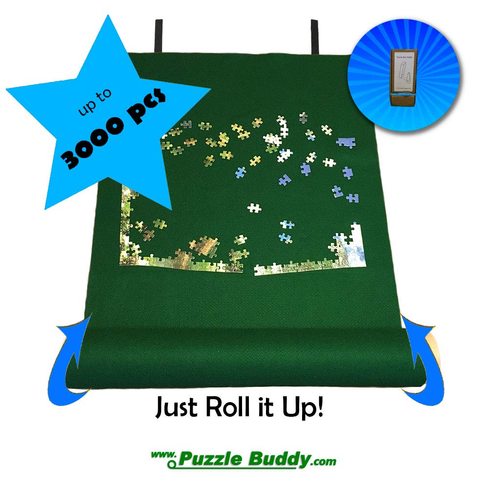 Puzzle Buddy:Roll Up Felt Mat | Securely Store, Transport Unfinished Puzzles, (Includes Box Stand), Perfect for Grandparents, Grandkids and Puzzle Enthusiasts | Made In the USA - Storage Kit For Puzzles Up To 3000 Pieces, 54'' x 35'' by Puzzle Buddy