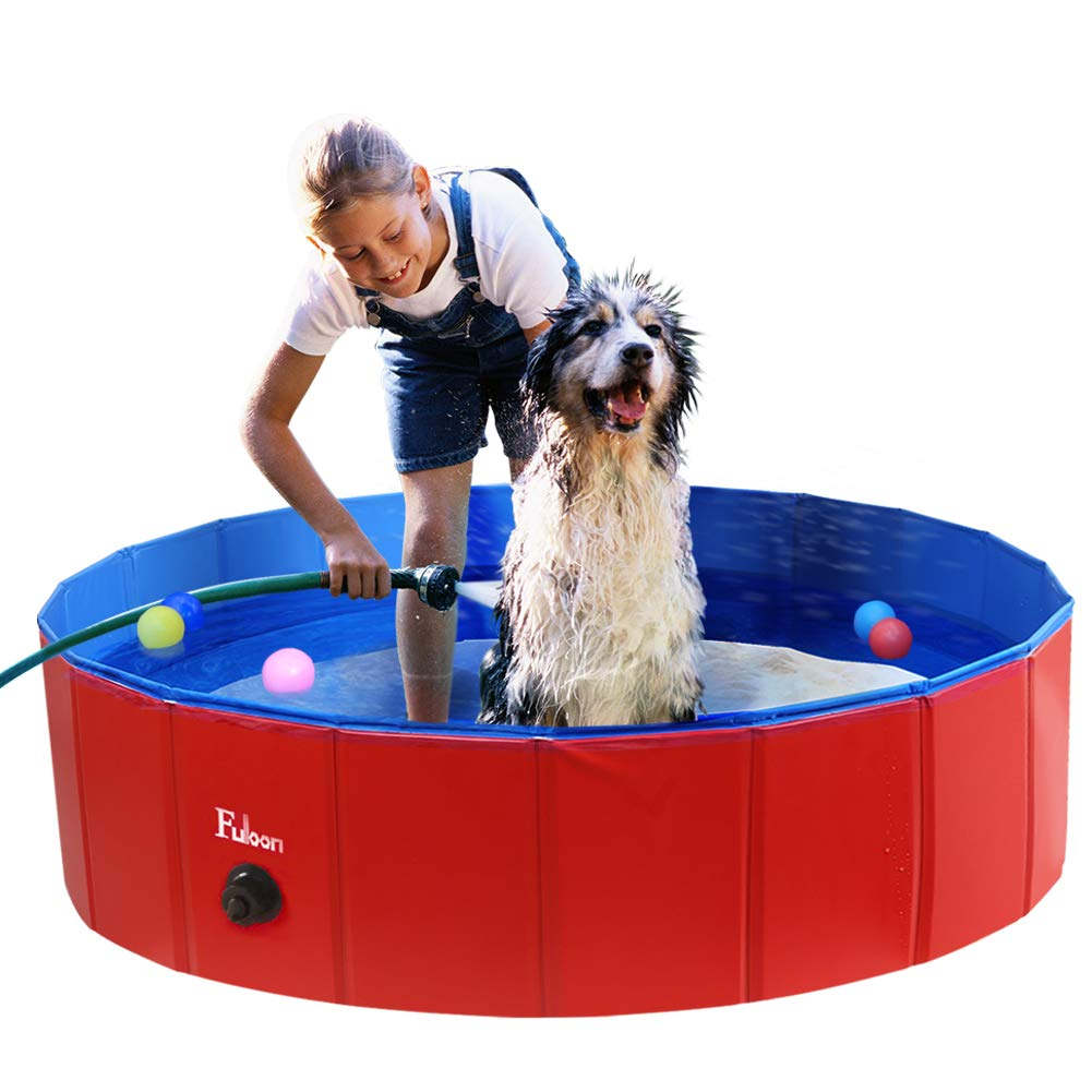 Fuloon PVC Pet Swimming Pool Portable Foldable Pool Dogs Cats Bathing Tub Bathtub Wash Tub Water Pond Pool Kiddie Pools for Kids in The Garden by Fuloon