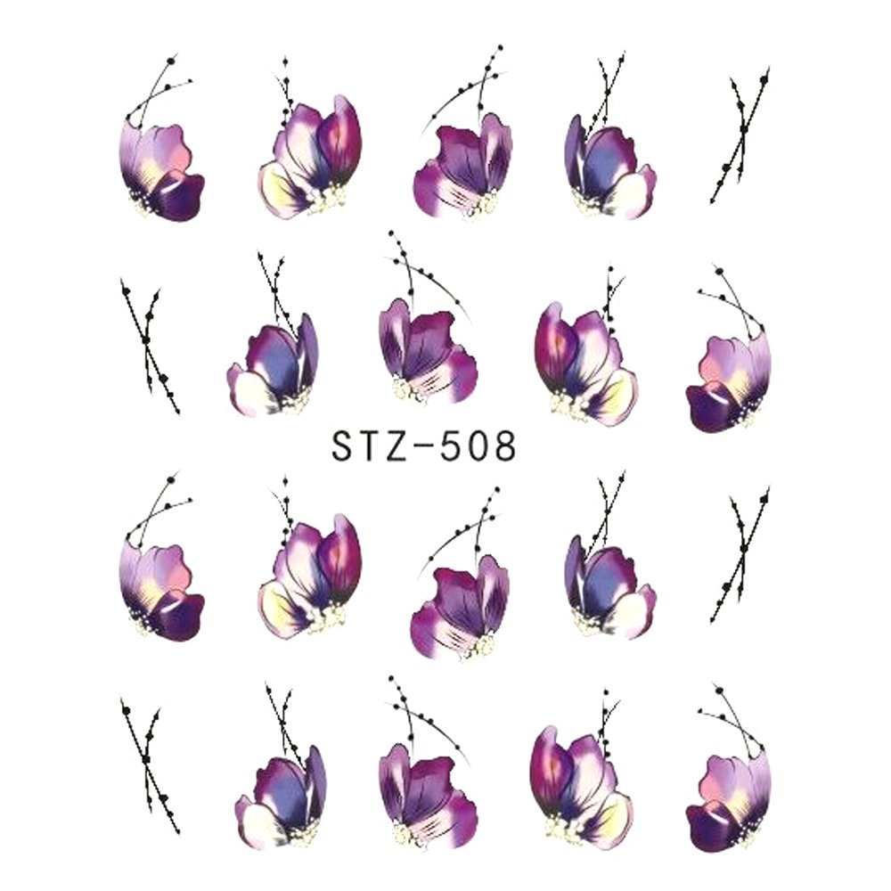 72c32d4f6d24 Amazon.com: 1Pcs Nail Sticker Butterfly Flower Water Transfer Decal Sliders  For Nail Art Decoration Tattoo Manicure Wraps Tools Tip STZ508: Beauty