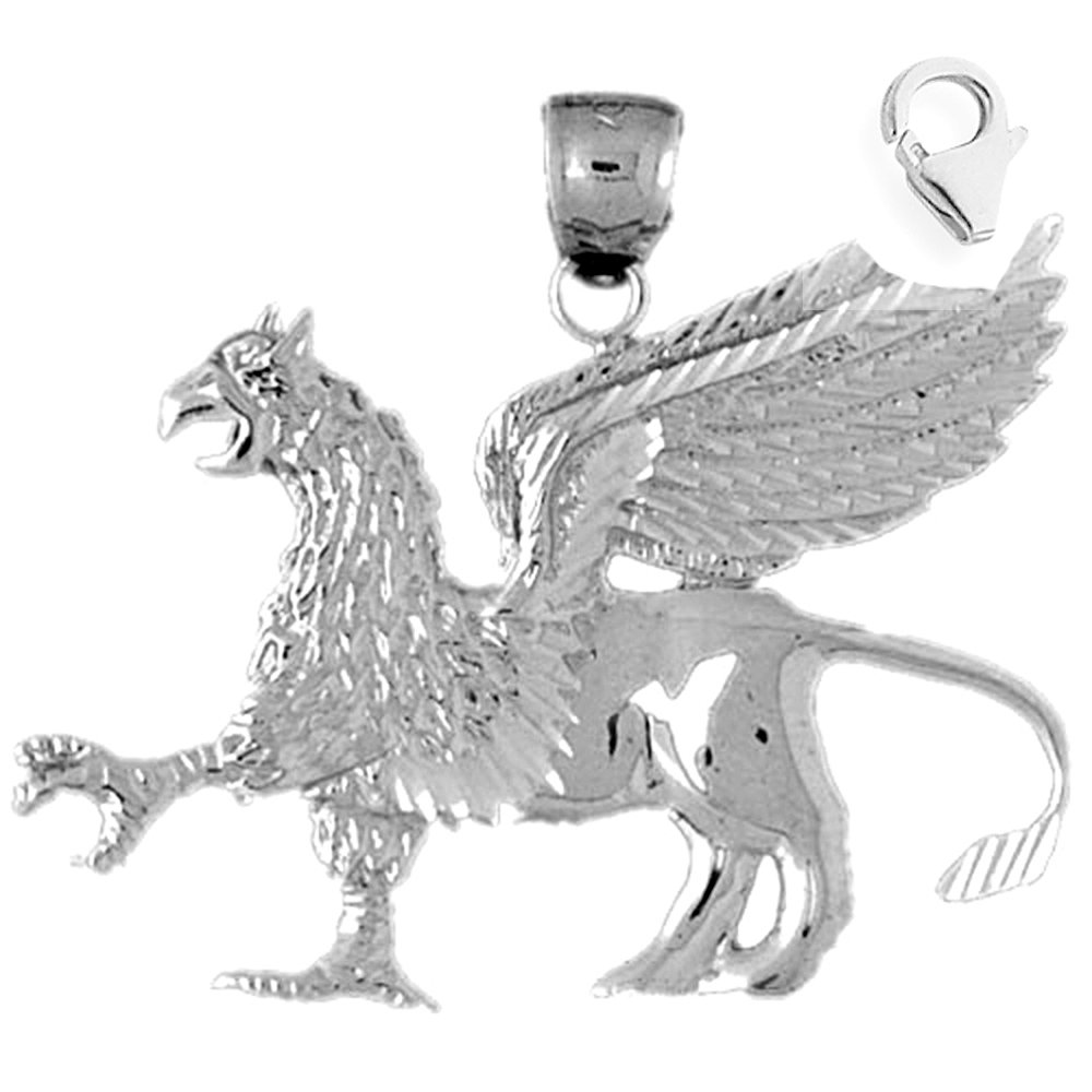JewelsObsession Sterling Silver 36mm Pegasus Charm w//Lobster Clasp