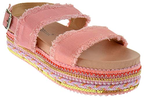 132f42102142 BAMBOO Ernie 02 Womens Dual Buckle Open Toe Studded Platform Sandals Pink  Denim 9
