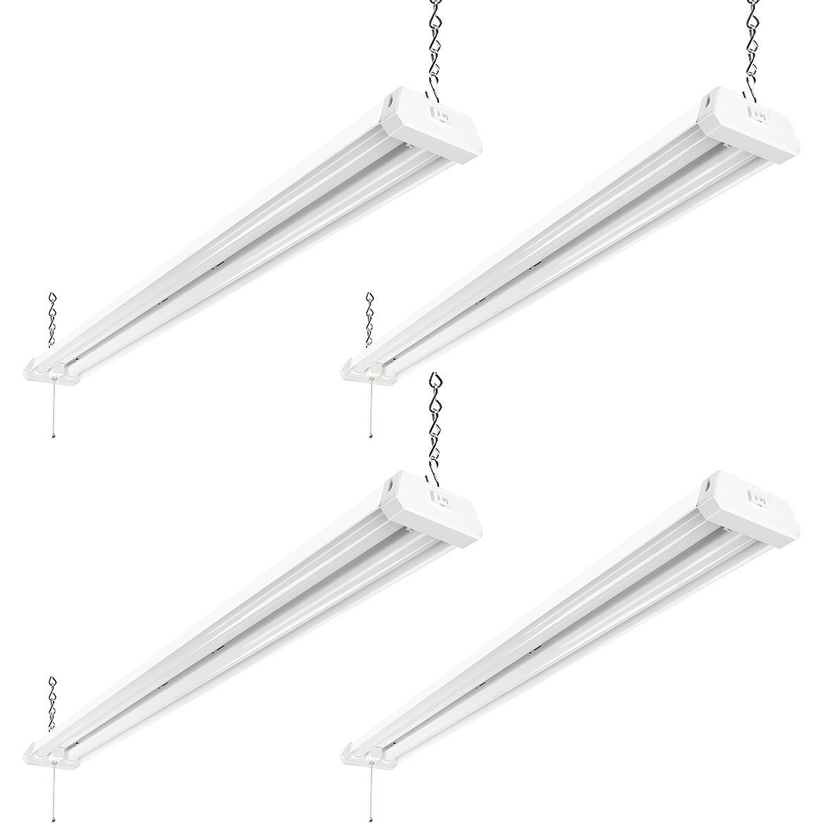 LE Linkable LED Utility Shop Light 4ft 42W Super Bright 4500 Lumens 5000K Daylight White ETL FCC Certified Linear Light Fixture Fits for Garage Workbench Warehouses Barns Factory Ceiling, 4 Pack