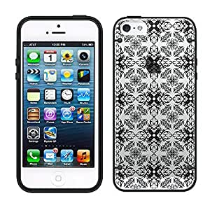 iphone 5 5s Victorian Pattern Black on Clear with Black Trim Case