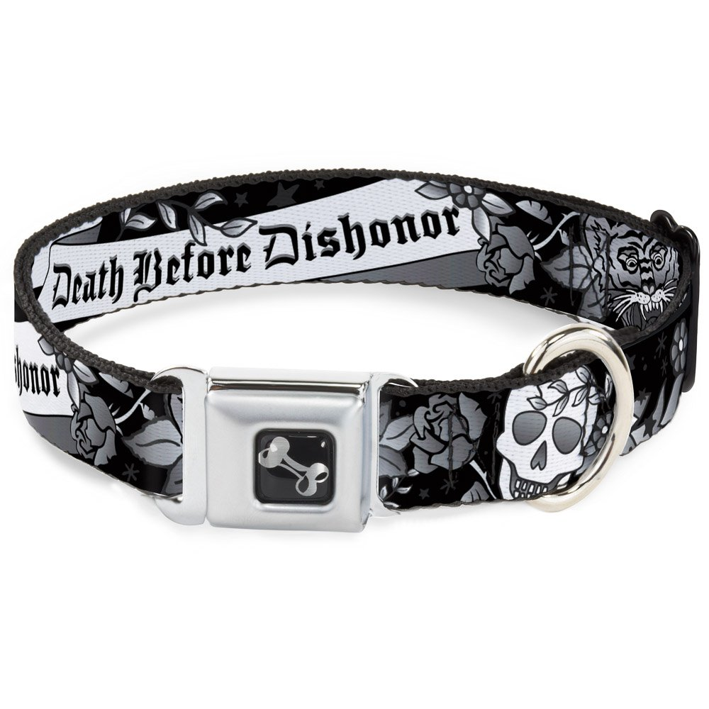 Buckle-Down Death Before Dishonor Black White Dog Collar Bone, Medium 11-17