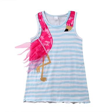 efee2e595 Amazon.com: Baby Kids Toddler Girls Flamingo Patchwork Striped Dress  Sleeveless Casual Princess Clothes Outfit: Clothing