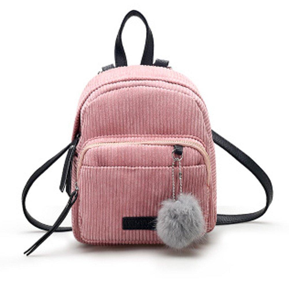 Shoulder Bags, Backpacks for Woman Girl Vintage Corduroy Travel School Bag Cute Striped Pompon Backpack (Pink) by Euone_Bag (Image #5)