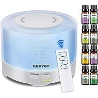 KBAYBO Humidificador ultrasónico de aromaterapia 500ml, 8 Piezas