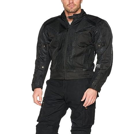 MCW Mens Mesh Air Vent Motorcycle Motorbike Armour Jacket CE Protector Mesh Velcro Closure Summer Jacket Black 2XL