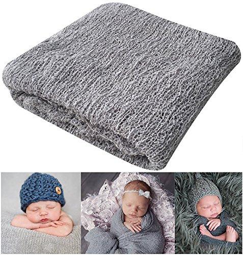 """Accesorios de fotografía para recién nacidos Recién nacido Bebé Estiramiento Envoltura de ondulación larga Hilo Manta de tela por Bassion, Gris, 16 """"x 60"""""""