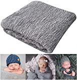 "Newborn Photography Props Newborn Baby Stretch Long Ripple Wrap Yarn Cloth Blanket by Bassion, Grey, 16"" x 60"""