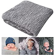 Newborn Photography Props Newborn Baby Stretch Long Ripple Wrap Yarn Cloth Blanket by Bassion, Grey, 16  x 60