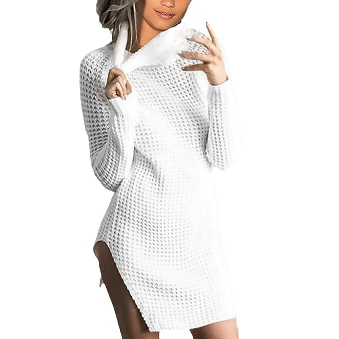 Mujer Vestidos De Punto Manga Larga Invierno Vestidos Camiseros Casuales Jerseys Cortas Cuello Alto Fiesta Elegantes
