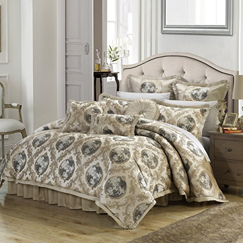 - Perfect Home 9 Piece Monte Carlo Decorator Upholstery Quality Jacquard Fabric Complete Master Bedroom Comforter Set and pillows Ensemble, King, Beige