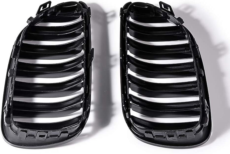 LR Glossy Black Front Hood Kidney Grille Grill Compatible with 11-13 E92 E93 LCI