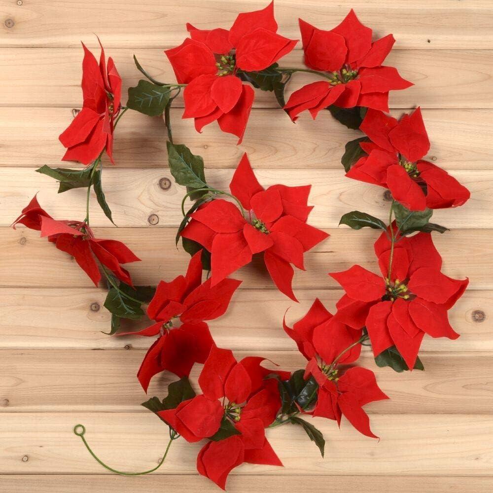 Party Urlaub Haust/ür Kranz f/ür Weihnachten YQing Weihnachtsgirlande mit roten Weihnachtsstern Weihnachtsgirlande mit Stechpalmenbl/ättern Weihnachtsdekoration Dekoration