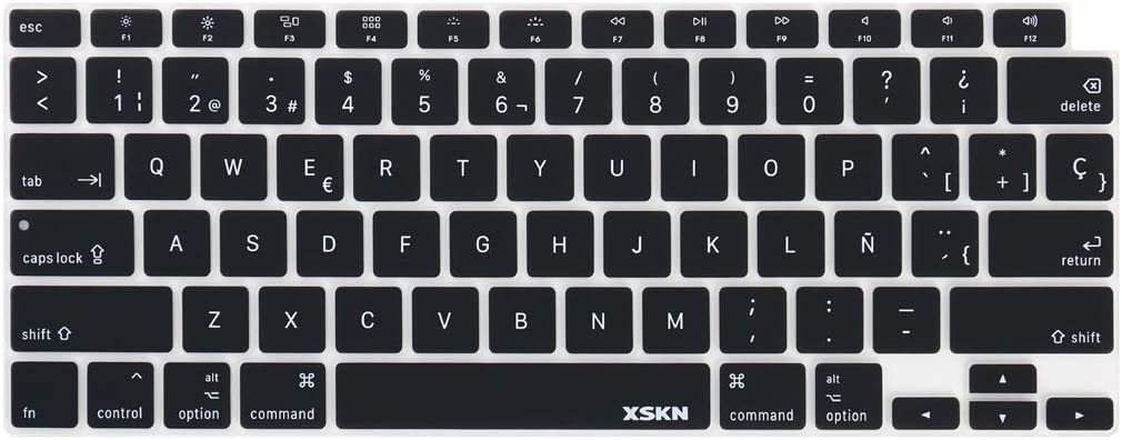 XSKN Spanish Language Design Black Silicone Keyboard Cover Skin for 2020 MacBook Air 13 inch A2179 with Touch ID - US Version