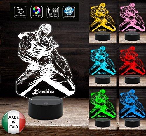KEN IL GUERRIERO Kenshiro Lampada da tavolo 7 colori action figure da scrivania Idea Regalo da tavolo o scrivania Luce notturna Decorazione della casa Night Light