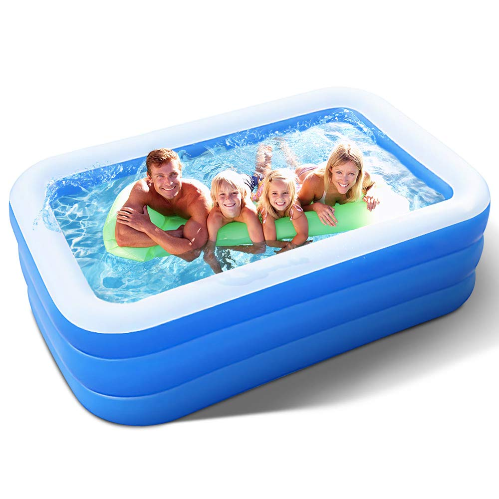 Inflatable Pool for Adults Kids Family Kiddie Swimming Pool - Blow Up Rectangular Large Above Ground Pool Floats for Lounging Outdoors Backyard for Baby - Use w/ Water Slide Sprinkler Splash Pad