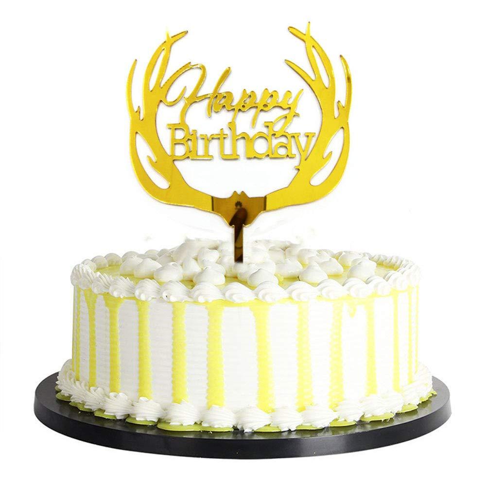 Amazon.com: Homanda Golden Deer Happy Birthday Acrylic Decoration ...