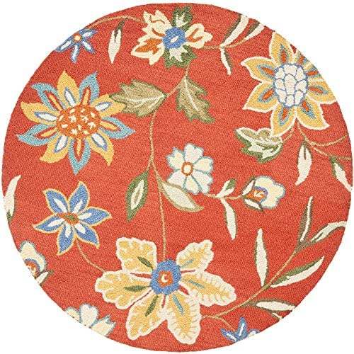 Safavieh Blossom Collection BLM673A Handmade Rust and Multi Premium Wool Round Area Rug 6' Diameter