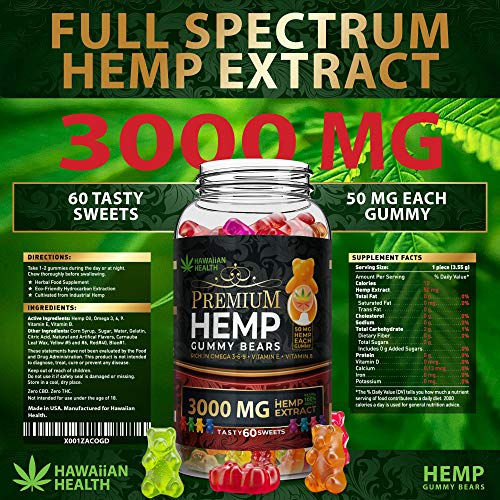 Natural Hemp Gummies 3000MG - 50MG Per Fruity Gummy Bear with Full Spectrum Hemp Extract   Natural Candy Supplements for Pain, Anxiety, Stress & Inflammation Relief   Promotes Sleep & Calm Mood by Hawaiian health (Image #1)