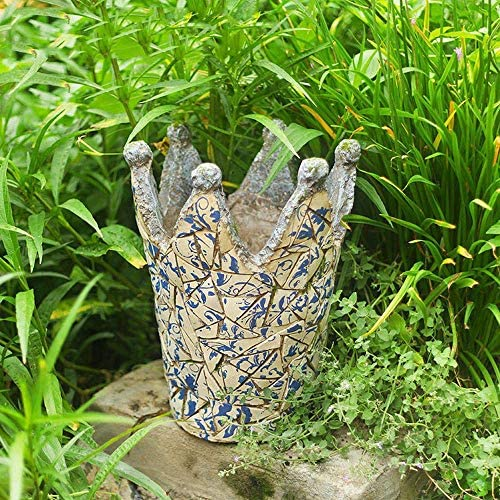 庭の装飾品模造セラミック手描きクラウンフラワーポット防水マグネシウム酸化風景庭芝生デコレーションクラフトギフト32 * 32 * 42cm A