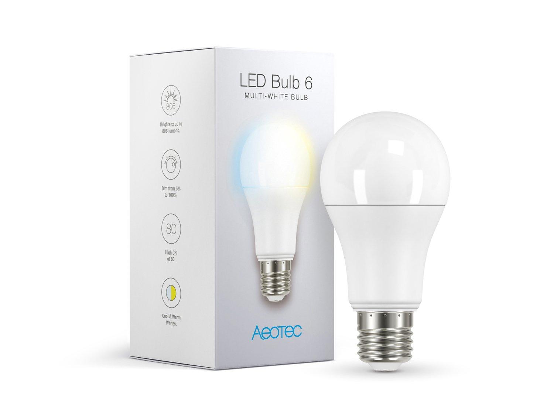 Aeotec LED Bulb Gen6 Multi-White, Z-Wave Plus S2, Dimmable & Tunable Daylight & Warm Light, 60 watt Incandescent Equivalent,E26 Base