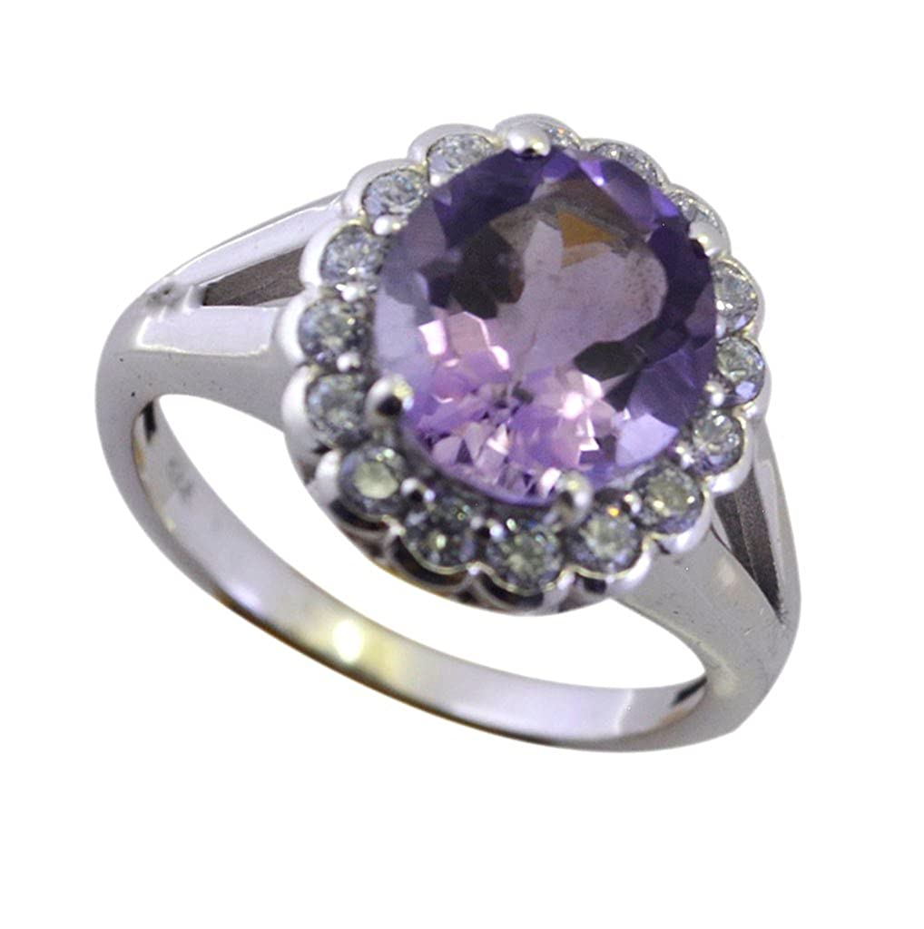 CaratYogi Real Amethyst Sterling Silver Ring For Women Round Halo Engagement Ornaments Size 6 7 8 9 10 11