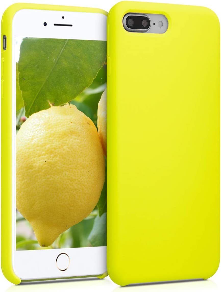 kwmobile TPU Silicone Case Compatible with Apple iPhone 7 Plus / 8 Plus - Slim Protective Phone Cover with Soft Finish - Lemon Yellow