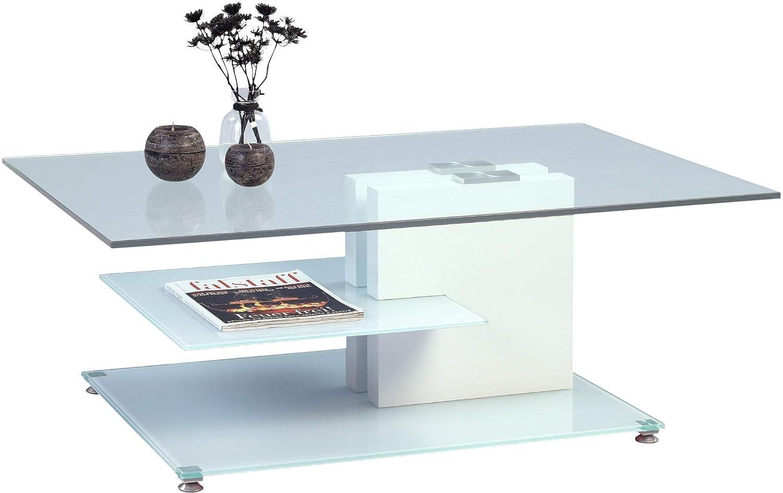 HomeTrends4You Ronda Couchtisch, weiß, Glas, 110 x 70 x 41 cm