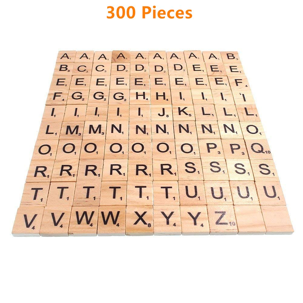 Magnoloran 300 Wood Scrabble Tiles Scrabble Letters Wooden Scrabble Block Set Letters Tiles Wood Scrabble Tiles Alphabet Toy Tile Games Great For Crafts
